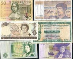 Sweden, France,  New Zealand, Hong Kong & England - 6 Banknotes - Svezia