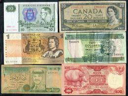 Canada, Solomon Island, Australia, Sweden, Jordan & Indonesia - 6 Banknotes - Canada
