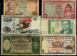 Brunei, Jordan, Indonesia, Hong Kong, Tajikistan & Australia - Banknoten