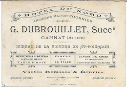 Carte Hotel Du Nord DUBROUILLET GANNAT Allier 03 12x8cm - Tarjetas De Visita