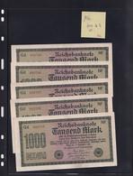 Allemagne - Reichsbanknote - Lot De 5 Billets De 1000 Mark Dont Les N° De Série Se Suivent Gd 095785 à 095789 - [ 3] 1918-1933 : République De Weimar