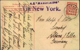 "1912, Ppc CURACAO, ""St. Anna Baai"" Sent Via New York Per ""S.S. MARACAIBO"" To Altona - Curaçao, Nederlandse Antillen, Aruba"