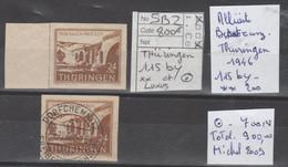 TIMBRE D ALLEMAGNE ALLIIERTE BESETZUNG (THURINGEN)  1946 Nr 115 By ** 200€-115by 700€ OBLITEREES  COTE 900 € - Sowjetische Zone (SBZ)