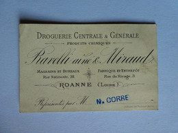 VR - Carte De Visite RAVELLI Ainé & MIRAUD Droguerie Centrale & Générale Produits Chimiques Roanne Loire - Tarjetas De Visita