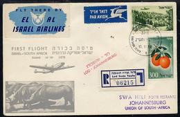 8961Israel 1958 El-Al Reg First Flight Cover To South Africa, Various Handstamps & Backstamps - Vliegtuigen