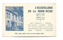 CARTE  De VISITE *l 'hostellerie De La Reine Rose MANE Alpes De Haute Provence - Tarjetas De Visita