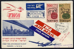 8912Israel 1957 TWA First Jetstream Flight Reg Cover To USA Bearing 160 & 300 New Year Stamps, Various Backstamps - Vliegtuigen
