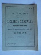 VR- 1884 Négociants Propriétaires O. CLERC & C. CAZALLE Tarif Vins De Bordeaux En Bouteille Barrique Caisse Fût - Food
