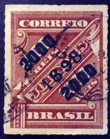 Bresil Brasil 1898 Timbre Journaux Surchargé Newspaper Stamp Overprinted Jornaes Yvert 100 O Used - Gebraucht