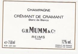 Etiquette Champagne G. H. MUMM & Cie à REIMS / CREMANT DE CRAMANT Blanc De Blancs - Champagner