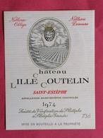 SAINT-ESTEPHE ETIQUETTE CHATEAU LILLE COUTELIN 1974   27/09/20/ - Bordeaux