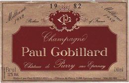 Etiquette Champagne Paul Gobillard Château De Pierry - BRUT Millésimé 1982 - Champagner