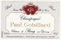 Etiquette Champagne Paul Gobillard Château De Pierry - BRUT - Champagner