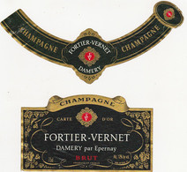 Etiquette Champagne FORTIER-VERNET à DAMERY / BRUT - Champagner