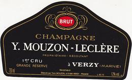 Etiquette Champagne Y. MOUZON-LECLERE à VERZY / BRUT 1er CRU Grande Réserve - Champagner