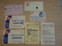 LOT DE 7 BUVARDS  NESTLE CHOCOLAY LANVIN TSF PHILIPS SAVON CADUM KUB AMIDON VERLEY - Blotters