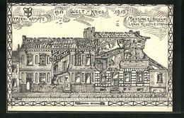 AK Messines, Haus In Der Lange Klosterstrasse, 1. Weltkrieg 1914-1915, Ypern-Kämpfe - Mesen