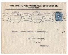 1926  BALTIC AND WHITE SEA CONFERENCE Copenhagen Denmark To France Environnement Nature - Covers & Documents