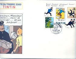 TINTIN : BLOC FETE DU TIMBRE 2000 SUR GRANDE ENVELOPPE - NARBONNE - Comics