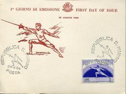 58850 San Marino, Special Card And Postmark 1954 Fencing,fechten, Escrime - Escrime