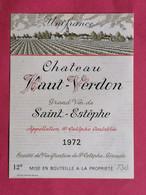 SAINT-ESTEPHE ETIQUETTE CHATEAU HAUT-VERDON 1972  27/09/20/ - Bordeaux