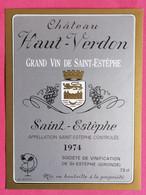 SAINT-ESTEPHE ETIQUETTE CHATEAU HAUT-VERDON 1974  27/09/20/ - Bordeaux