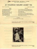 HUGUES AUFRAY - JE VOUDRAIS MOURIR AVANT TOI  - 1970 - ETAT COMME NEUF - - Music & Instruments