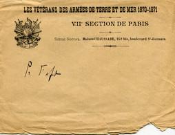 Militaire Enveloppe Les Vétérans Des Armées De Terre Et De Mer 1870 1871 Paris Maison Chaussade Bld St Germain Armes - Documenten