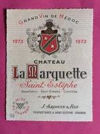SAINT-ESTEPHE ETIQUETTE CHATEAU LA MARQUETTE 1973           27/09/20/ - Bordeaux