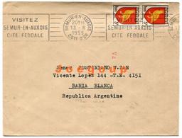 Envelope Semur En Auxois Cote D'or France 1955 To Bahia Blanca Argentina - Used Stamps