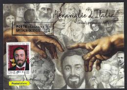 Italia 2020; Meraviglie D' Italia, Grandi Personaggi Nell' Arte: Luciano Pavarotti; Maximum 20-07-2020 - Maximum Cards