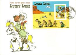 LUCKY LUKE : BLOC SUR ENVELOPPE FETE DU TIMBRE 2003 - DALTON JOLLY JUMPER RANTANPLAN DESERT - Bandes Dessinées