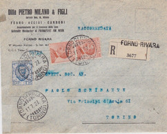 1927 Italy → 2.45 Lire On Pietro Milani & Figli Of Forno Rivara Registered Cover To Torino - Versichert