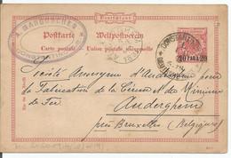 "EP (carte Postale 20PARA Sur EP ""Aigle"" 10 Pf Rose)  O Constantinople Vers Auderghem  (Belgique) - Bureau: Turquie"