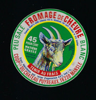 étiquette Fromage De Chèvre  Blanc 45%mg  Coop Du Chateau Puyréaux  Mansle Charente 16 - Käse