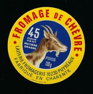 étiquette Fromage De Chèvre  45%mg 130g  Laiterie Fromagerie De Puyréaux Charente 16 - Käse