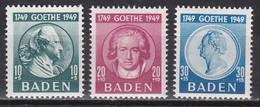 Men_ Franz. Zone Baden - Mi.Nr. 47 - 49 - Postfrisch MNH - Goethe - French Zone