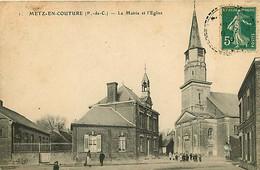 280920 - 62 METZ EN COUTURE La Mairie Et L'église - Francia