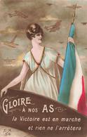 Guerre 1914 1918 Cpa Carte Patriotique Gloire à Nos As La Victoire Est En Marche Avion Avions Pilote - War 1914-18