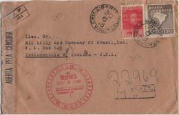 BRESIL YT N°430 ET 48 OBLITERES SUR LETTRE RECOMMANDEE POUR LES USA CENSURE BRESILIENNE - Briefe U. Dokumente