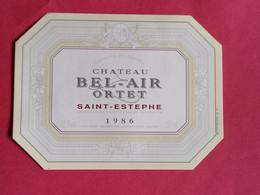 SAINT-ESTEPHE ETIQUETTE CHATEAU BEL-AIR ORTET 1986         27/09/20/ - Bordeaux