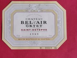 SAINT-ESTEPHE ETIQUETTE CHATEAU BEL-AIR ORTET 1989      27/09/20/ - Bordeaux