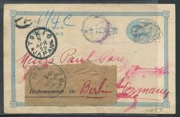 JAPON - ENTIER POSTAL -  CP  1 SEN BLEU, OBL. TOKYO LE 8/4/1899 POUR BERLIN - SUP - Enteros Postales