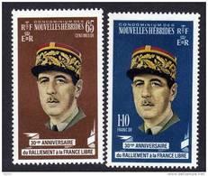 Nouvelles Hébrides N° 294 / 95  XX  Général  De Gaulle La Paire Légende  Française Sans Charnière TB - Unused Stamps