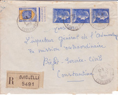 Affranchissement Mixte MARIANNE DE MULLER FRANCE + BLASON Algérie Lettre Recommandée DJIDJELLI 1958 - Storia Postale