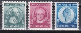 Men_ Franz. Zone Rheinland - Pfalz - Mi.Nr. 46 - 48 - Postfrisch MNH - Goethe - French Zone
