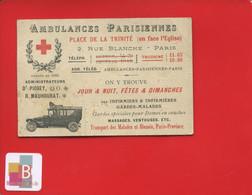 Rare Carte Visite Paris Ambulances Parisiennes Place De La Trinité Rue Blanche Fondée En 1880 Carte Visite Illustrée - Tarjetas De Visita