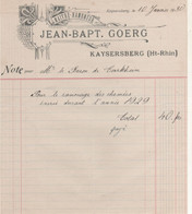FACTURE KAYSERSBERG  68  JEAN BAPT GOERG MAITRE RAMONEUR - Frankreich
