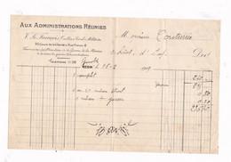 Facture 1919 Aux Administrations Réunies, V .Le François, Tailleur Civil Militaire, Grenoble - Documenten