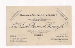 CARTE DE VISITE  RUBANS SOIERIES VELOURS - HEZOG - PARIS Boulevard De Sébastopol - Et Rue Blondel - Usine à MIRIBEL - - Tarjetas De Visita